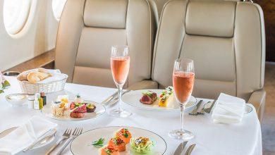 Premium catering in het vliegtuig bij First Class Aviation